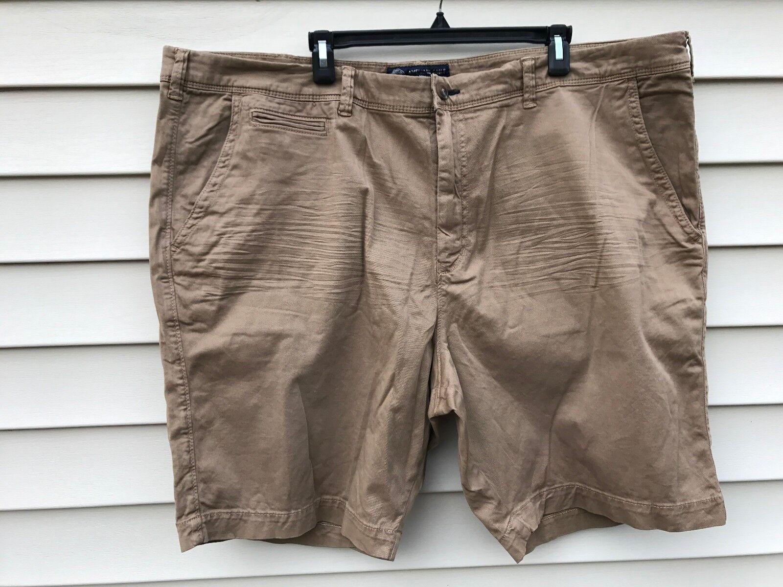 Mens AE American Eagle SLIM Fit Active Flex TAN Shorts 46 NWOT
