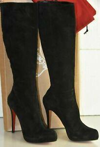 NEW-Christisn-Louboutin-Black-Suede-Knee-Boots-HIDDEN-PLATFORM-Shoes-41-5