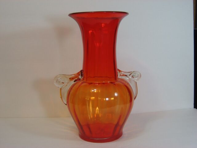 Art Glass Hand Blown Red To Orange Ribbed Mellon Shape Large Vase W