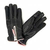Ladies Leather Gloves Fleece Motorcycle Biker Breast Cancer Awareness Womens