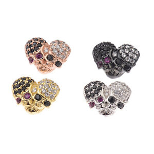 Zircon-Double-Skull-Ghost-Head-Pave-Diy-Bracelets-Connector-Beads-Charm-Gift