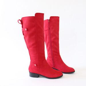 40fc4facbbe Hot Trend Vegan Suede Knee High Boots Flat Block Heel Gold hardware ...