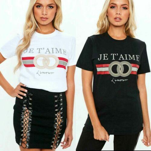 New Ladies Women/' JE T' AIME Lamour Designer slogan casual short sleeve T-Shirt
