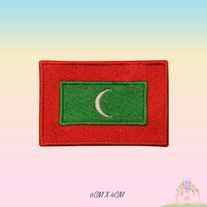 Maldives National Flag Embroidered Iron On Patch Sew On Badge