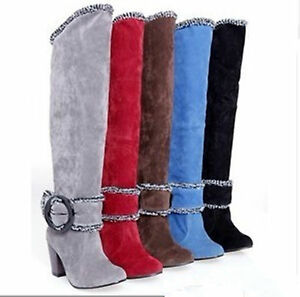 Fashion-Womens-Winter-Plush-Lining-High-Heel-Boots-Knee-Shoes-AU-All-Size-YB003