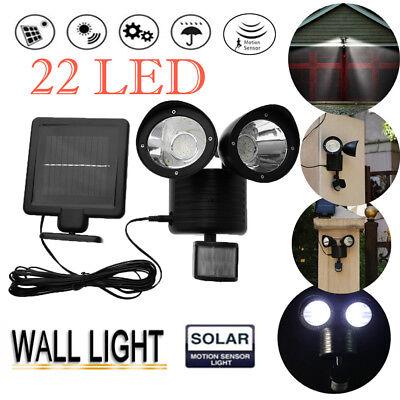 Dual Head Security Floodlight 22 LED Outdoor Solar Power Lamp PIR Motion Sensor