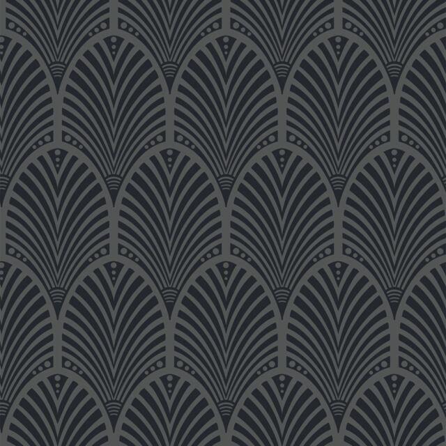Gatsby Art Deco Wallpaper Charcoal Holden Decor 65250 Metallic For