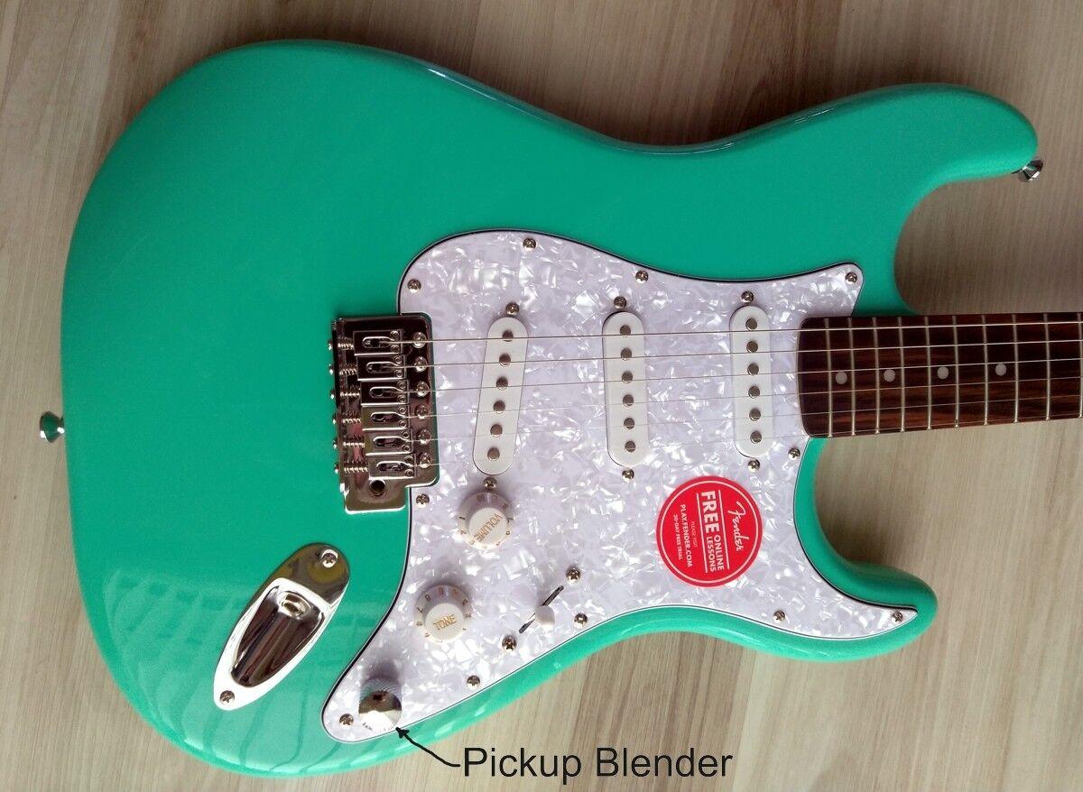 Fender  Stratocaster Guitar Turbo+ SSS w  Blender MOD Seafoam Squire Strat DEMO