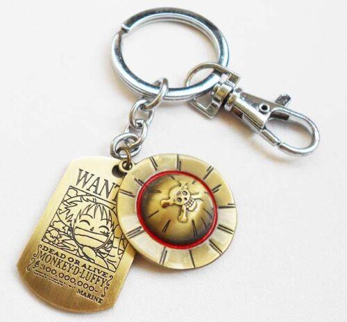 New One Piece Luffy Chapeau paille double Keychain Porte-Clés Pendentif Cadeau