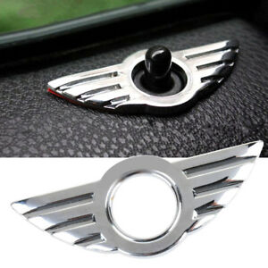 1x-MINI-Chrome-door-pin-lock-wing-Cooper-S-one-JCW-badge-3D-Emblem-R50-R53-R56