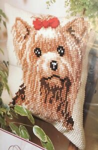 Vervaco-Kit-Yorkshire-Terrier-Dog-Cushion-Seat-Cover-Bag-Front-Tapestry-Embroidr