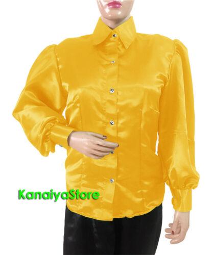 Gelb Frauen Satin Button Down Solide Kragen Hemd Rüschen Langarm Bluse