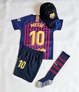 New-2019-Kids-Soccer-Jersey-Barcelona-Home-10-Messi-Top-Short-Kit-Cap-Socks