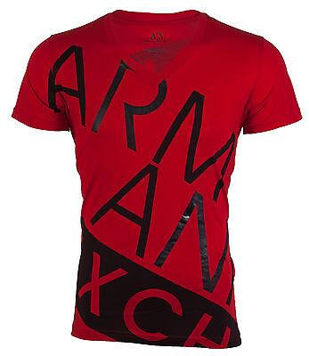 ARMANI EXCHANGE AX Mens T-Shirt BIAS Slim Fit RED Casual Designer Jeans M-XL $45