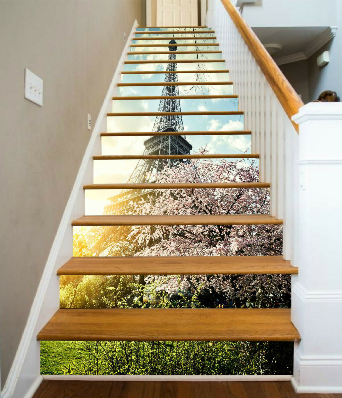3D Eiffelturm Blaume Stair Risers Dekoration Fototapete Vinyl Aufkleber Tapete DE