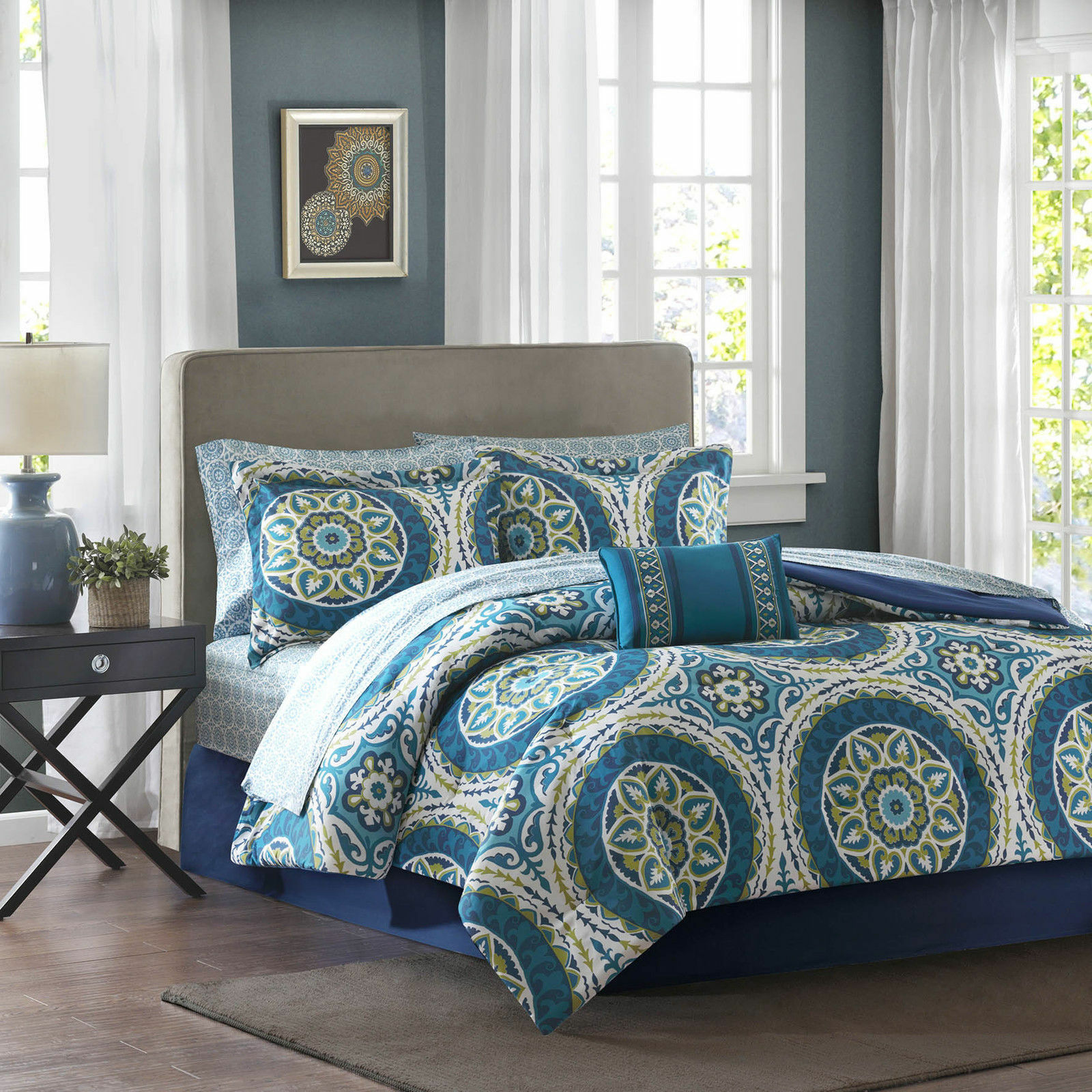 BEAUTIFUL MODERN Blau TEAL AQUA Grün BOHEMIAN GLOBAL COMFORTER SET & SHEETS