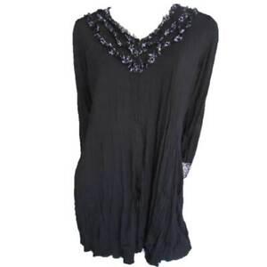 Drape-Cardigan-Size-10-12-14-16-EVERSUN-Black-Lace-Jacket-Ruffle-Trim