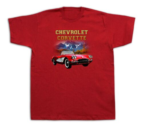 Mens Tee shirts T-shirt print 1960 chevrolet corvette classic red vintage car