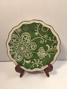 Pier1-Imports-Ironstone-1-MARIBETH-8-1-2-034-Scalloped-Salad-Plate-Green-amp-Beige