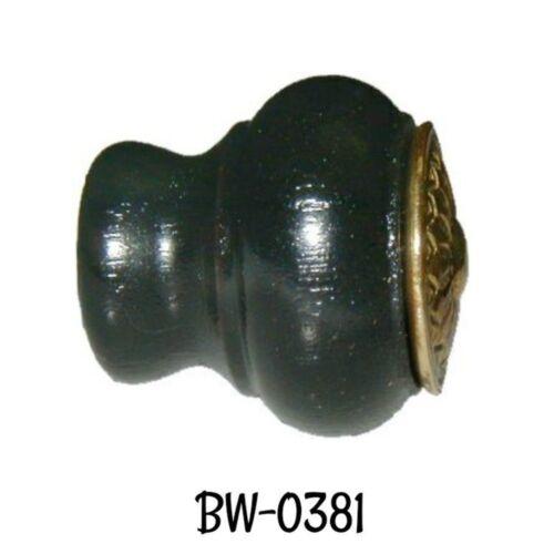 Knob Black Antique Eastlake Wood Knob with Stamped Brass Overlay Vintage Old