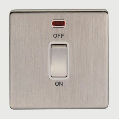 SCREWLESS SATIN NICKEL STANDARD OR LED DIMMER LIGHT SWITCHES /& SOCKETS.
