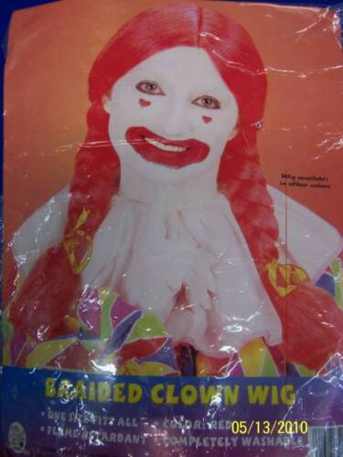 Long Braided Clown Wig DLX Costume Accessory 3 COLORS