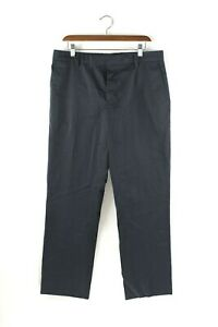 Marni-Womens-Size-44-Medium-Blue-Trousers-Slim-Leg-Flat-Front-Cotton-Dress-Pants
