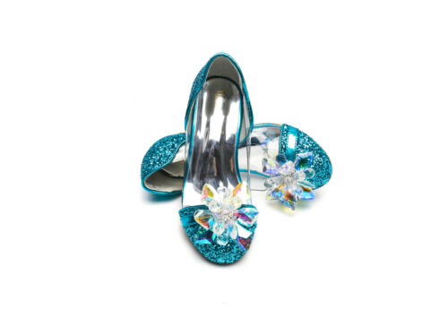 ELSA /& ANNA® Quality Girls Princess Snow Queen Wedged Party Shoes Sandals BLU14