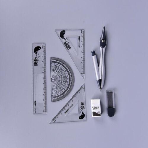 7pcs//set Student school math geometry protractor drawing compass ruler pencil