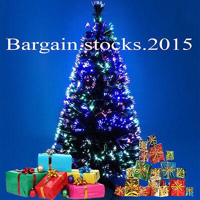 Luxury Fibre Optic Green/Black Christmas Tree Decoration 6ft Multi Color Xmas