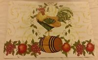 Set Of 4 Kitchen Vinyl Non Clear Placemats, Rooster On The Barrel