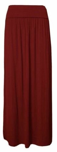 Womens Pleated Fold Over High Waist Gypsy Ladies Long Jersey Casual Maxi Skirt