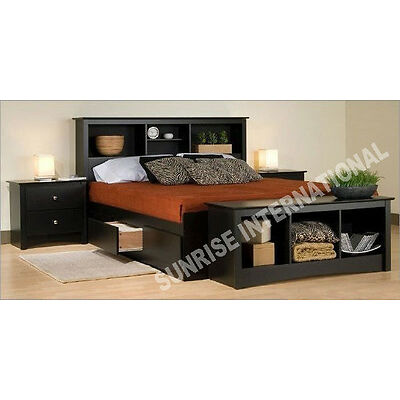 Wooden King Size Double Bed with 4 storage drawers and headboard shelves !