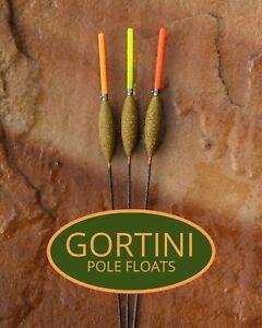 3 no. Hand made GORTINI 4x14 'Carbon Slim' pole fishing floats handmade set