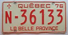 Quebec 1976 (FARM TRUCK OR VAN) License Plate # N-36133