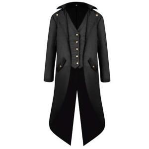 Mens Vintage Tailcoat Jacket Gothic Victorian Coat Uniform Halloween Costume