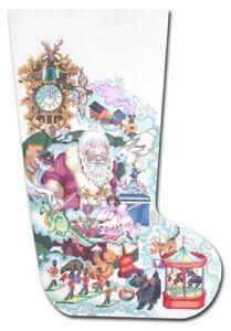 Needlepoint-Handpainted-EDIE-amp-GINGER-Christmas-Stocking-Dreaming-Santa-20-034
