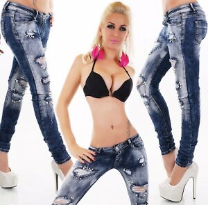 Damen-Hueft-Jeans-Hose-Roehrenjeans-Skinny-Destroyed-Risse-Fetzen-Perlen-ORIGINAL
