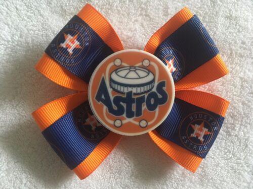 "Girls Hair Bow 4/"" Wide Houston Astros Blue Orange Logo Flatback Alligator Clip"