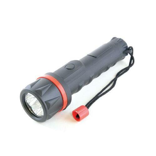 Lloytron D2221 Black Rubber Long Life Bright LED 6 Torch With Carry Strap - New