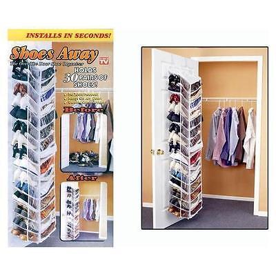 Shoes Away Hanging Organizer Organize 30 Pairs Space Closet TV Holder Over Door