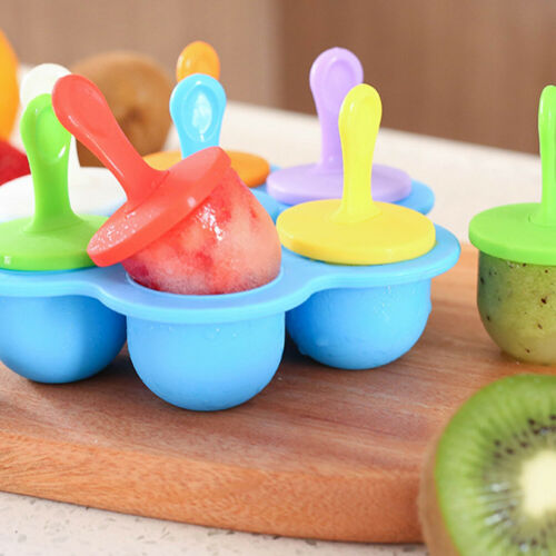 Non-stick Popsicle Mold 7-hole Ice Pop Mould Silicone Ice Cream Pop Molds