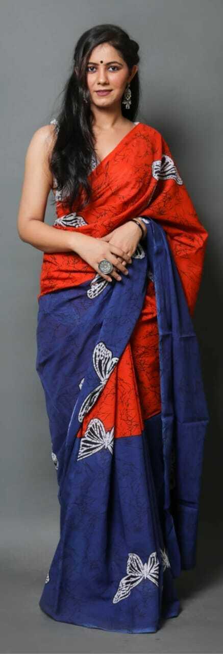 Women Best Sari Fancy Attractive HandMade Red Blue Print Party Wear Cotton Saree