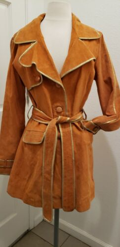 Guess Marciano Womens Suede Car Coat Trench Burnt
