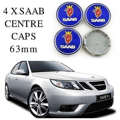 4 X Blu 62 mm 63 mm SAAB LEGA RUOTA CENTRO Hub Caps si adatta 9-3 9-5 900 93 95