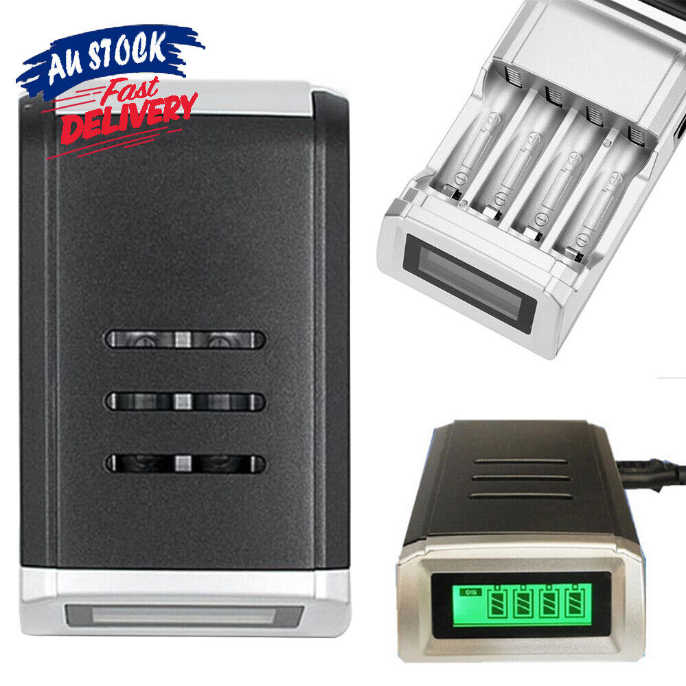 4 Slots Charger With LCD Digital AZ Rechargeable Battery NiCd NiMh for AA /AAA