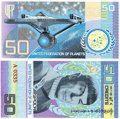 UNITED FEDERATION OF PLANETS 50 Credits 2017 Star Trek Spock 1 FANTASY Banknote
