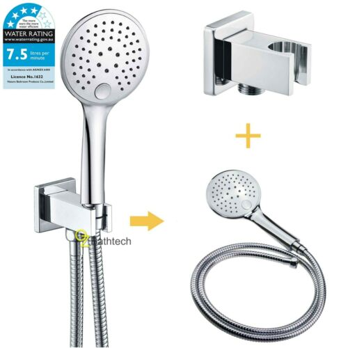 Bathroom WELS Hand Held Shower Head Square Wall Holder 1.5m Hose Connector Set