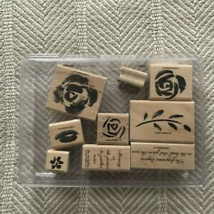 "NIP 9 Pc 2003 Stampin' Up ""Roses In Winter"" Wood Mt Rubber Stamp Set in Case EUC"