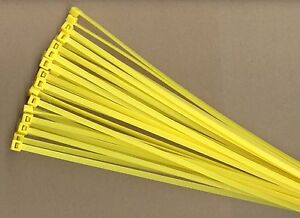 """100 11"""" Inch Long 50# Pound YELLOW Nylon Cable Zip Ties Ty Wrap MADE IN USA"""